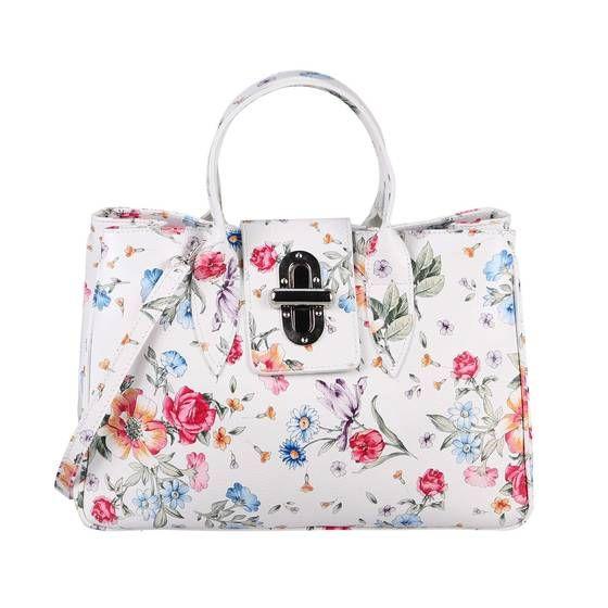 Photo of OBC Made in Italy Damen Echt Leder Tasche Business Blumen Shopper Aktentasche Schultertasche Handtasche Ledertasche Kroko-Prägung Umhängetasche Tote Bag Weiß (Blumen)