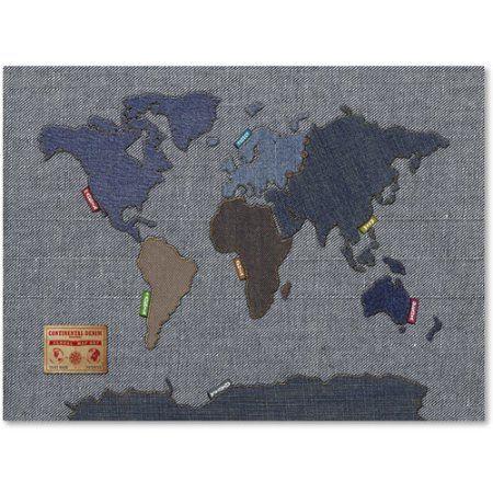 Trademark art denim world map canvas art by michael tompsett trademark art denim world map canvas art by michael tompsett size 22 gumiabroncs Images