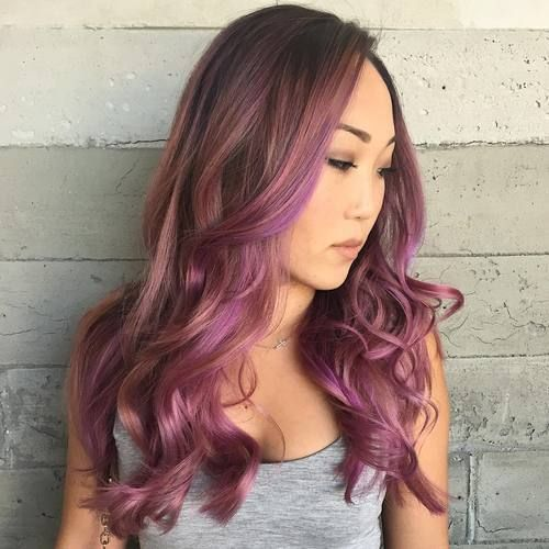 40 Versatile Ideas Of Purple Highlights For Blonde Brown And Red Hair Long Hair Styles Perfect Hair Color Hair Styles