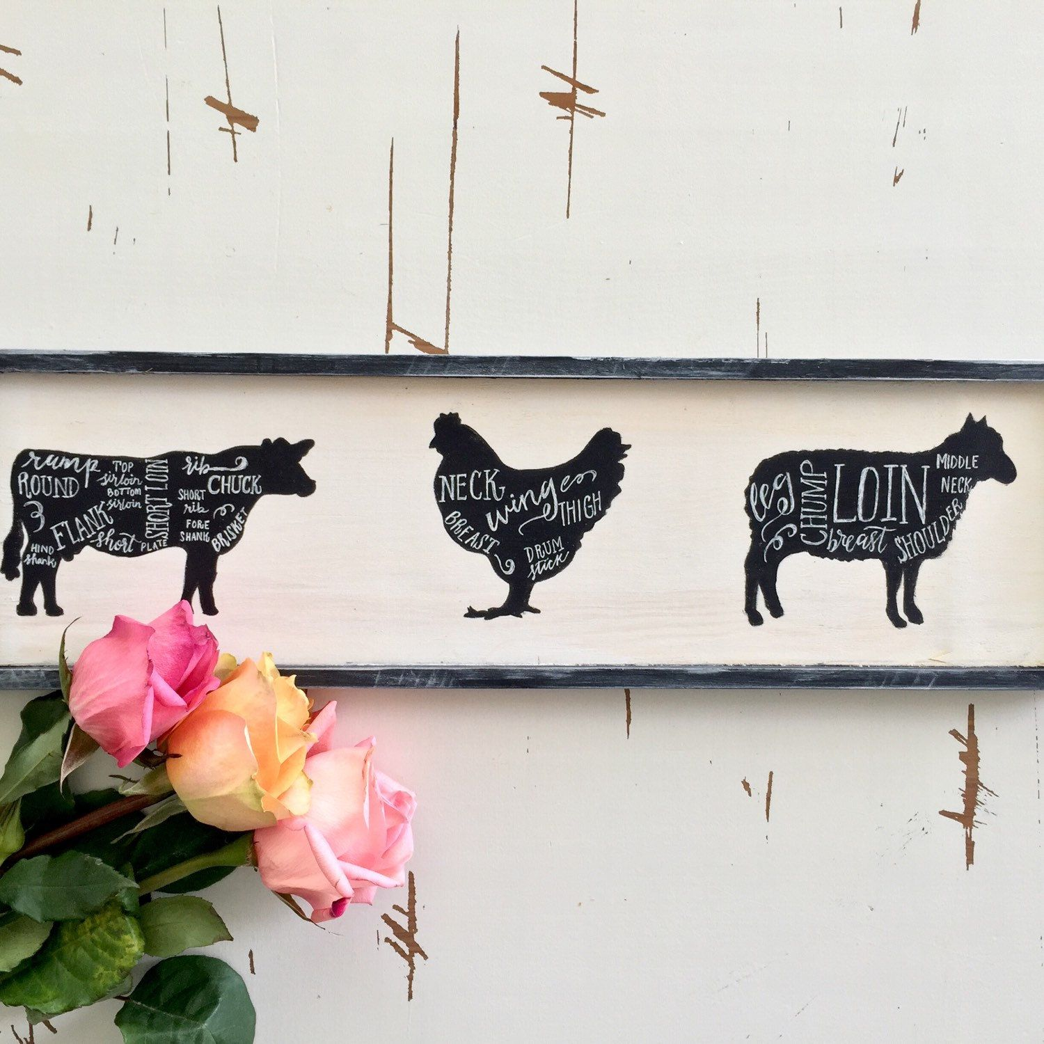 Farmhouse Hand Painted & Hand Lettering Distressed White and Black ...