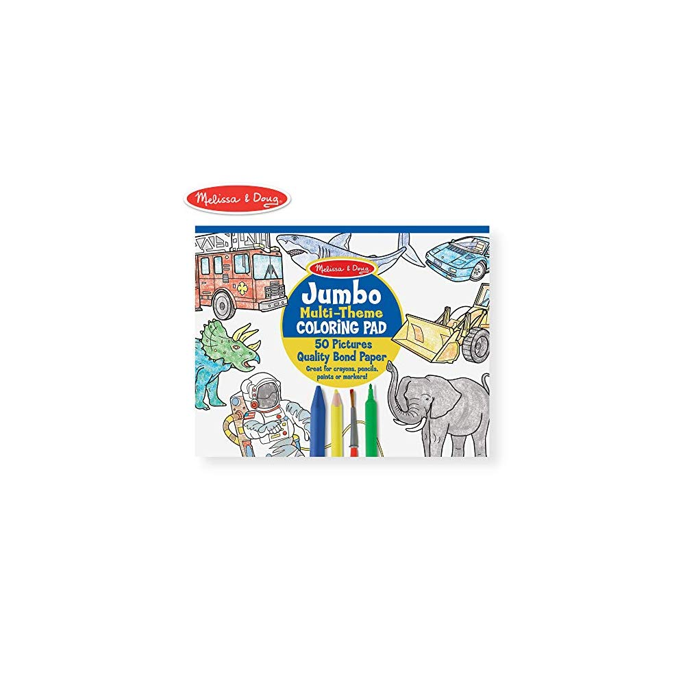 Sharks Space Sports and More Melissa /& Doug Jumbo 50-Page Kids Coloring Pad