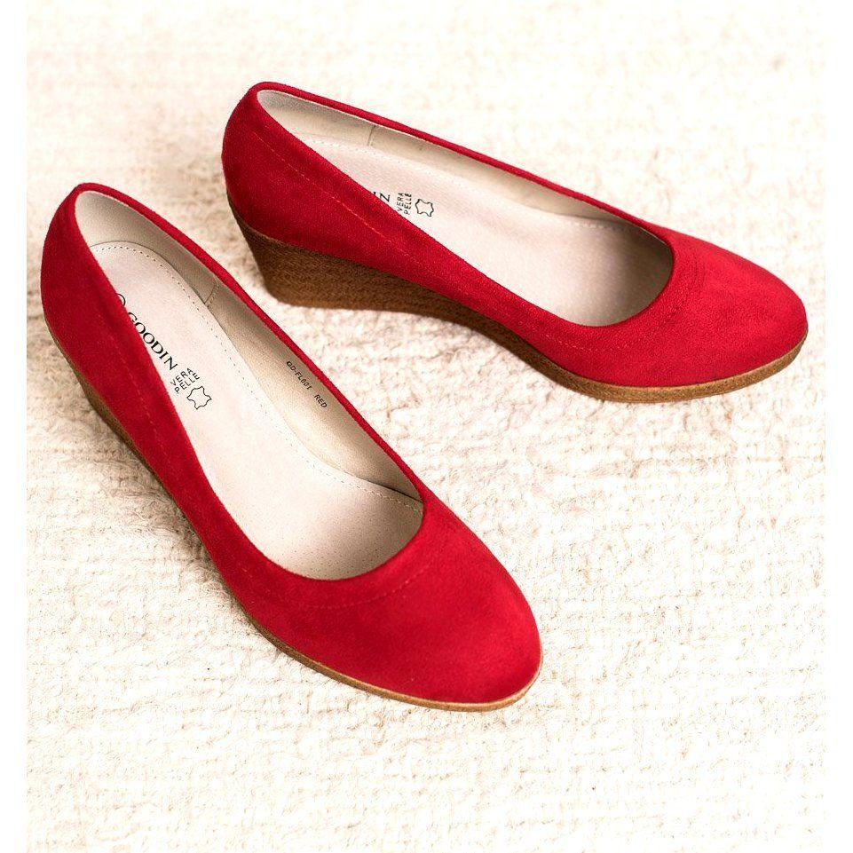 Goodin Klasyczne Baleriny Na Koturnie Czerwone Shoes Flats Fashion