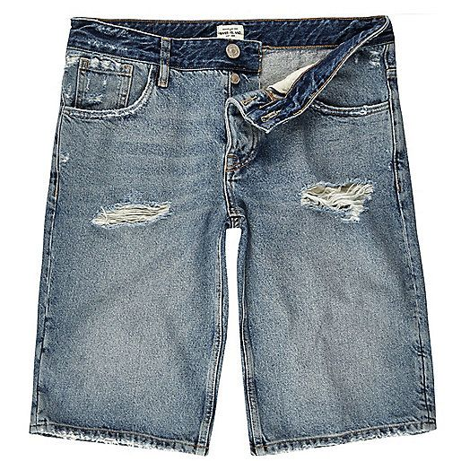 Mid blue wash wide leg denim shorts - shorts - sale - men | Jeans ...