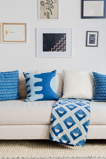 Hand block printed pillows and throws by SUNDAY/MONDAY, dyed with