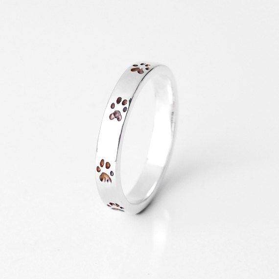 baa0245bca0362 Sterling Silver Paw Print Ring- Size 7 Ring- Dog Lover Jewelry- Animal Ring-  Stacking Ring- Dog Ring