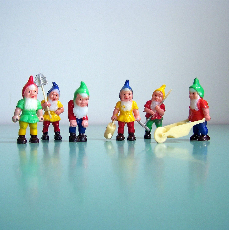 Delightful Vintage Set Of 6 Tiny Garden Gnomes At Work