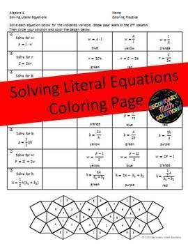 Literal Equations Coloring Activity (A12E) Literal
