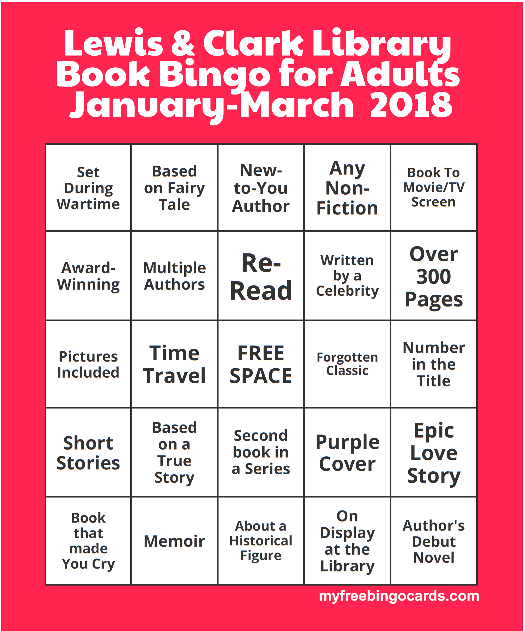 Book Bingo For Adults Starts January 1