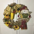 Photo of SUNFLOWER AND SCARECROW WREATH ON RUFFLED BURLAP WITH ORNAMENTAL CORN ACCENT #Ho…