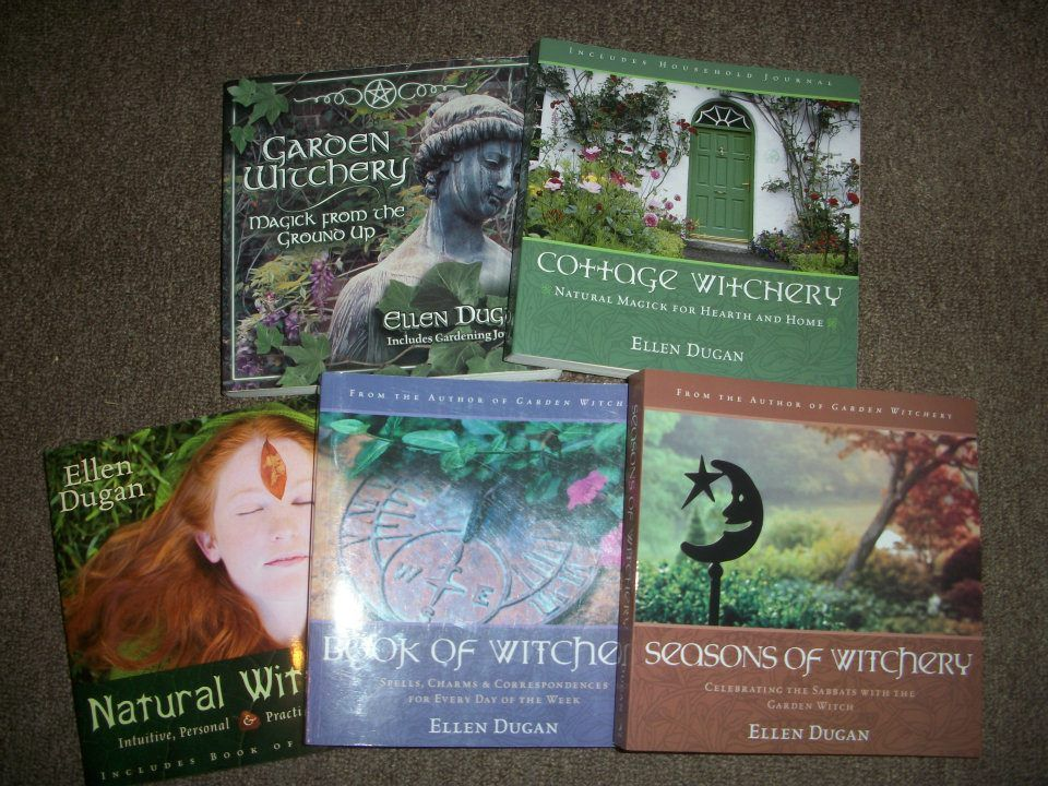 The Witchery Series!     Garden Witchery,  Cottage Witchery,  Natural Witchery,  Book of Witchery,  and the newest --Seasons of Witchery.   Photo credit- Ellen Dugan--I have all of these, they are wonderful!!!