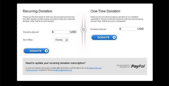 paypal recurring online donation form code scripts and plugins