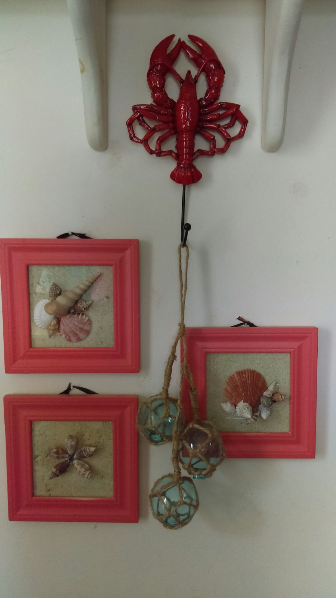 That\'s a lobster hook. Recycled frames spray painted and small ...