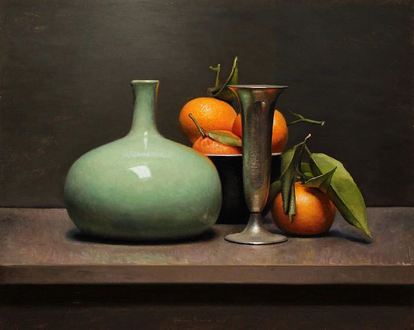 Painting: Still life with clementines and vase