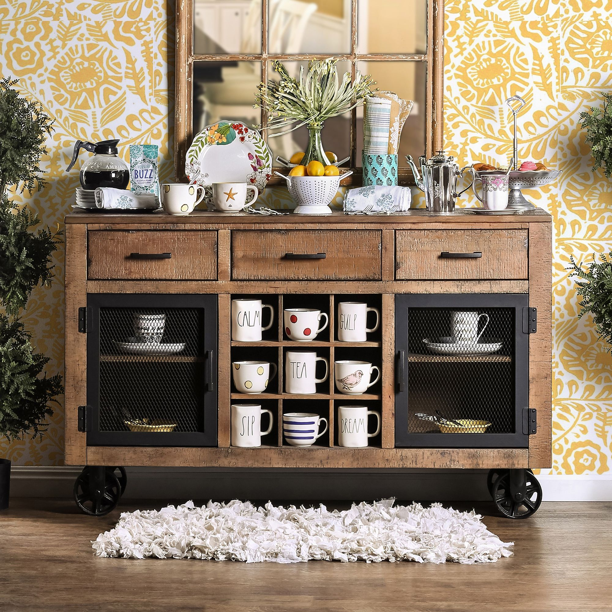 Lovely Furniture Of America Matthias Industrial Rustic Pine Mobile Dining Buffet/ Server (Rustic Pine)