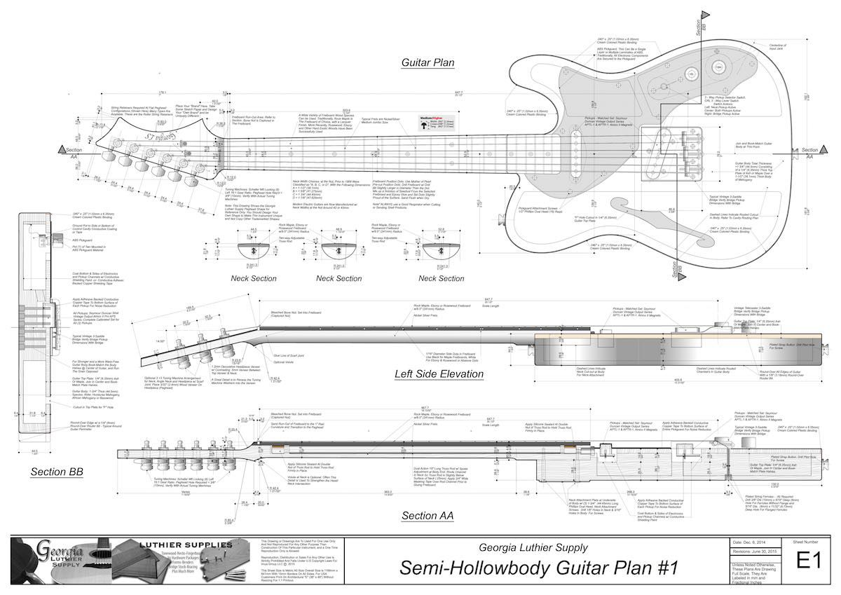 Hollowbody electric guitar plans 1 electronic version blueprint build a tele thinline guitar with these extremely detailed guitar building plans from georgia luthier supply we offer a full line of electric and acoustic malvernweather Image collections