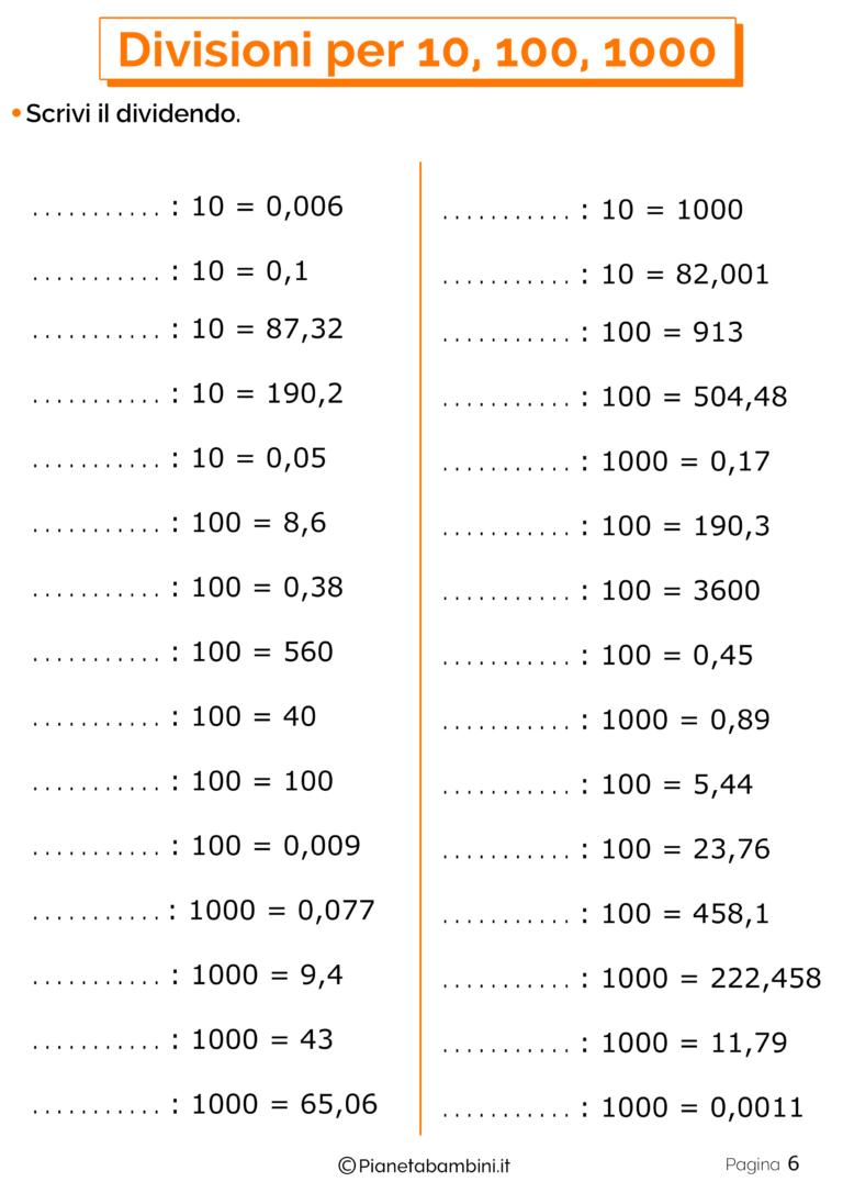 Schede didattiche divisioni per 10-100-1000 6 | Scuola ...