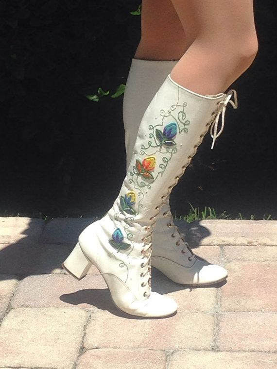 e6b8edc908f REDUCED! Almost Famous White Leather Embroidered boots | ☮ Bohemian ...