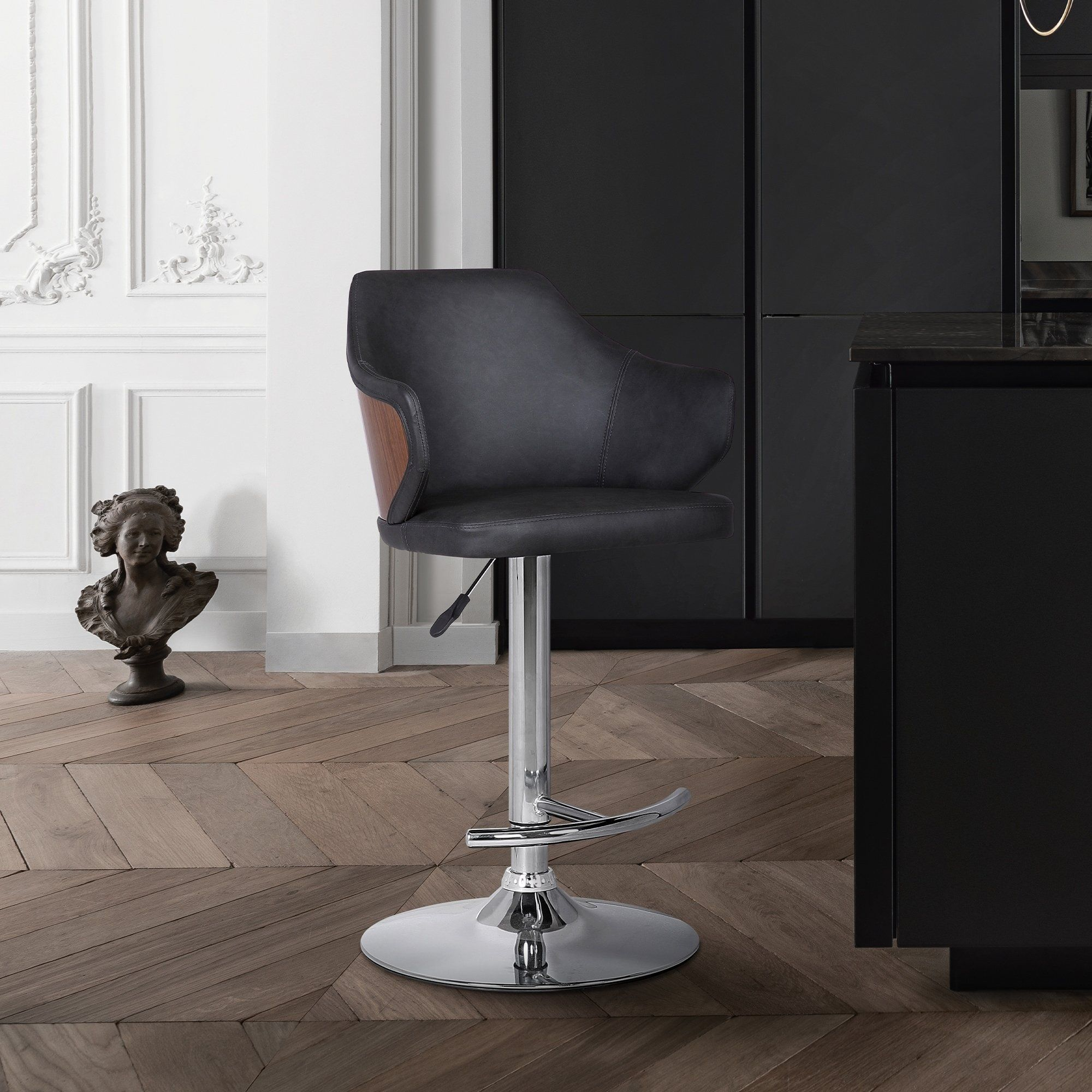 Armen Living Aaron Chrome Finish Faux Leather And Wood Adjustable