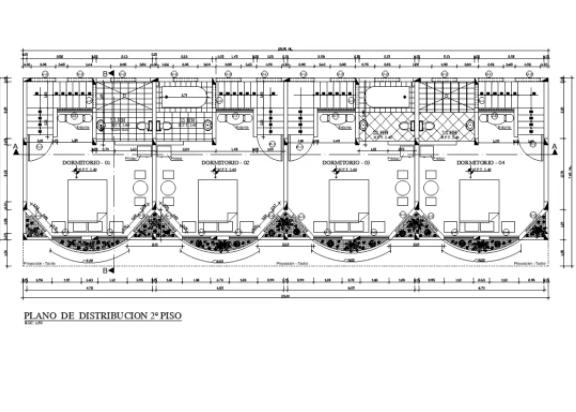 20X7 Meter Bedrooms Layout Plan Drawing Download DWG File