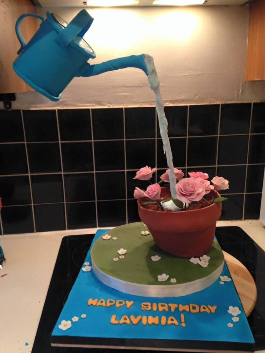 Anti-Gravity Watering Can! This is my first attempt at an anti-gravity cake, made for a family member's birthday. #gravitycake