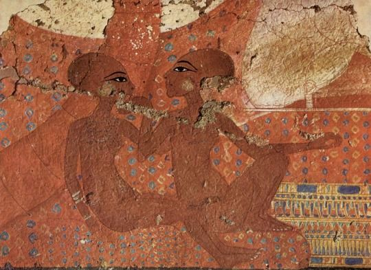 Two of Akhenaten's daughters - Mural Painting from Tell el-Amarna Ancient Egypt - New Kingdom - Amarna Period Ashmolean Museum, Oxford