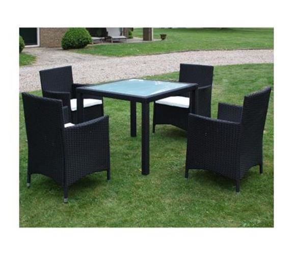Rattan Bistro Patio Set 4 Seater Garden Furniture Dining Table And