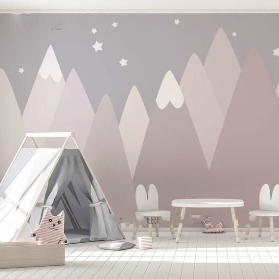 Hand Painted Dusty Pink Geometric Mountain Wallpaper Wall