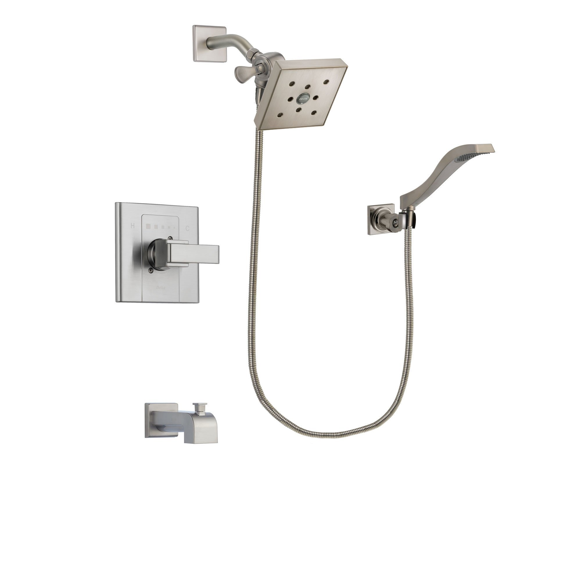 Delta Arzo Stainless Steel Finish Tub and Shower Faucet System ...