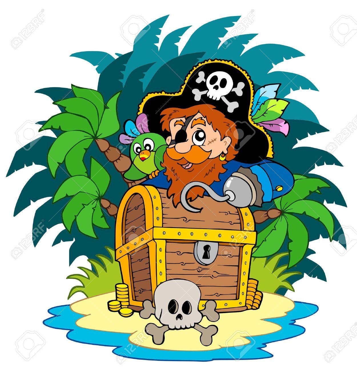 Un pirata en una peque a isla con el cofre del tesoro ni os y padres pinterest peque a - Islas con ninos ...