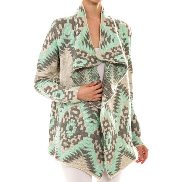 Gray Mint Aztec Tribal Cardigan Sweater ❤ liked on Polyvore featuring tops, cardigans, mint green top, aztec print cardigan, mint top, tribal cardigan y aztec pattern cardigan