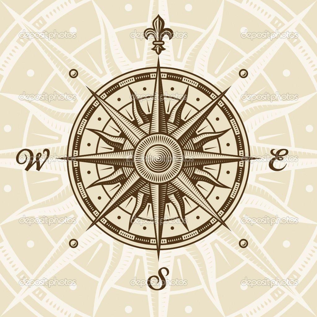 depositphotos_4993393-Vintage-compass-rose.jpg (1024×1024 ... Antique Compass Rose Tattoo