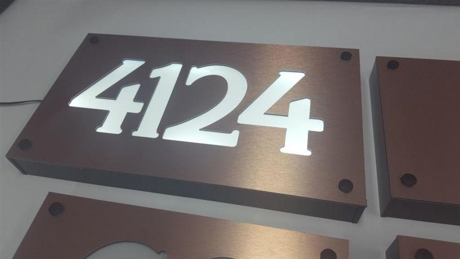 Brushed Copper Faced Engraved Front Lit Address Number Sign