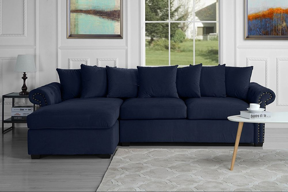 Modern Large Tufted Velvet Sectional Sofa Scroll Arm L Shape Couch Navy Blue Walmart Com L Shaped Couch L Shaped Sofa Fabric Sectional Sofas