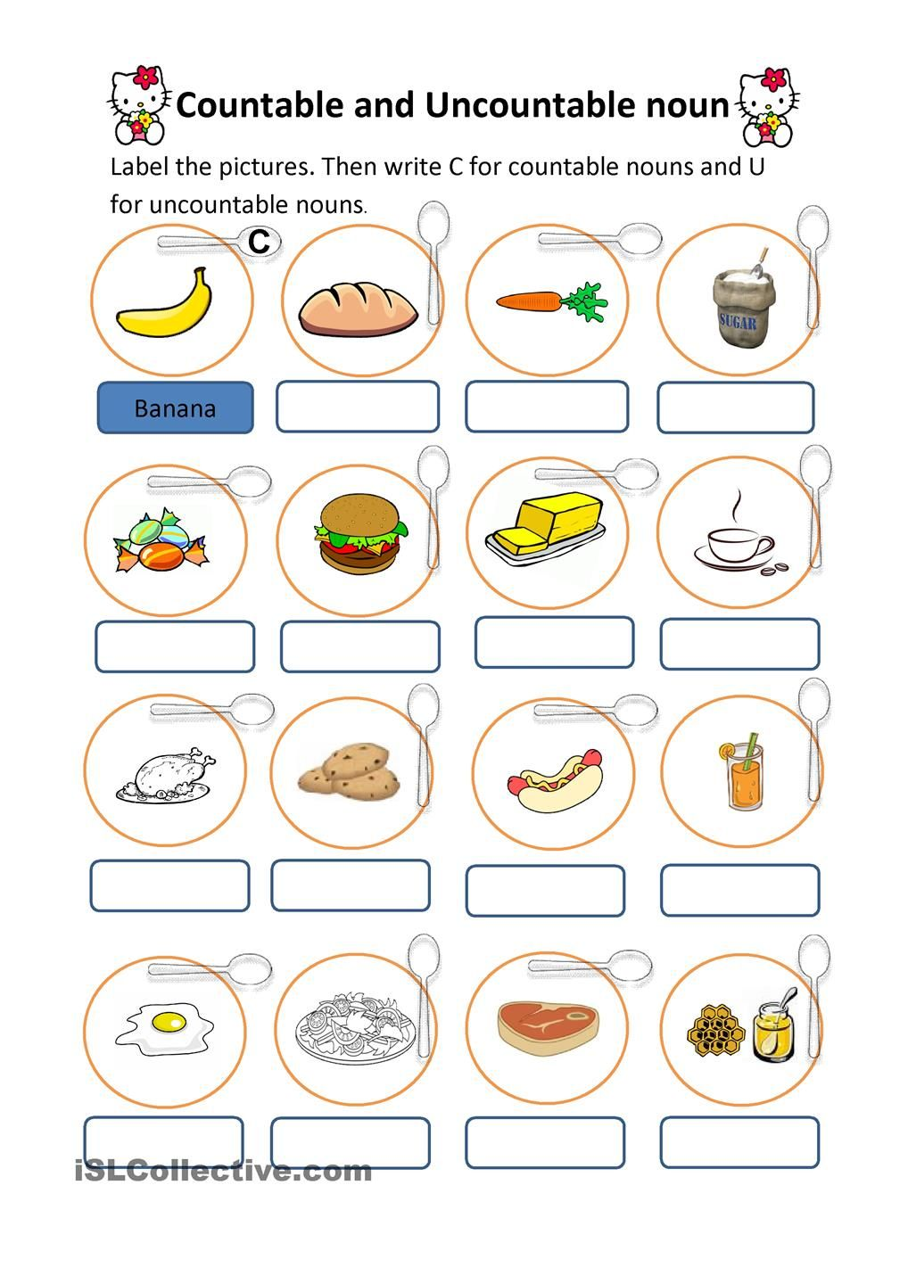 worksheet Count And Noncount Nouns Worksheet countable and uncountable nouns 1 english grammar non count many nouns