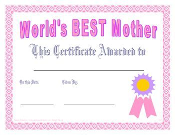 World S Best Mother Certificate Printables Projects To