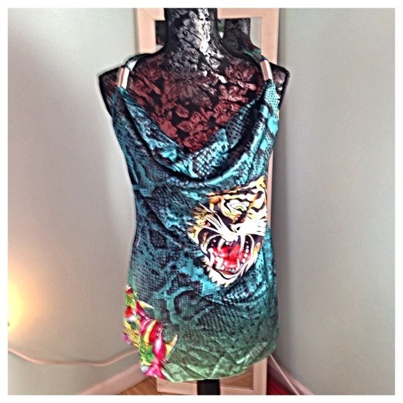 New Ed Hardy Dress Beautiful dress with vibrant colors and rhinestone detail   Adjustable straps with metal rings as pictured. New Ed Hardy Dresses
