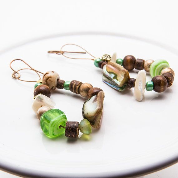 Recycled Bead Earrings Organic Oval Earrings by CraftedLocally