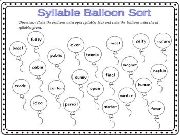 Open Syllable Worksheets - Worksheets