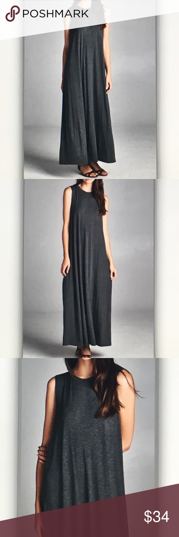 Charcoal sleeveless tunic maxi dress Gorgeous and comfy! Approx. 51 in. Length. Made in USA. Rayon blend. Fits true to size. S-2/4 M-6/8 L-10/12 Dresses Maxi