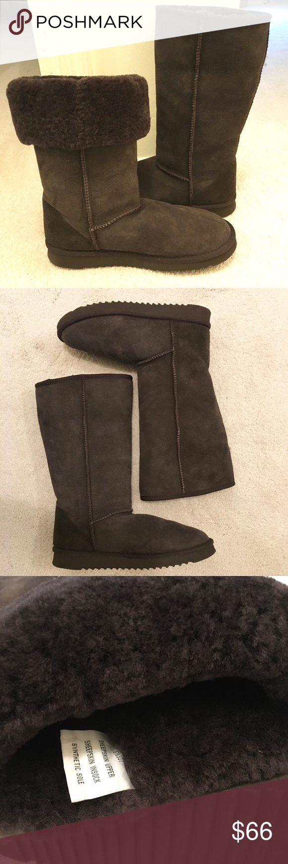 """Full Sheepskin Boots Just in time for the season -- these are full sheepskin boots with a very thick/plush wool inside.  Gray.  In excellent condition. Wear tops all the way up, or folded down.  Maximum 13"""" high. Shoes Winter & Rain Boots"""