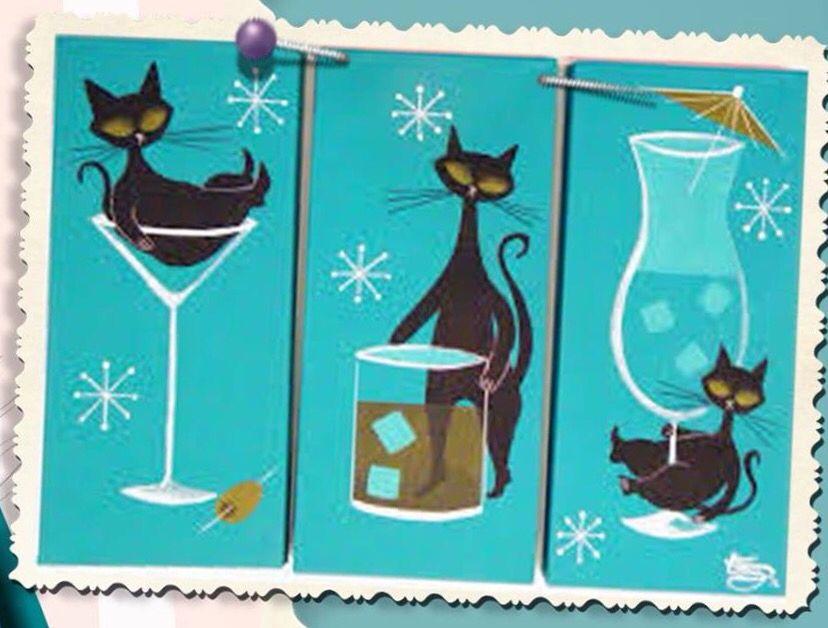 This Kat Is Sure Happeeeeeee Black Cat Art Mid Century Cat Cat Artwork