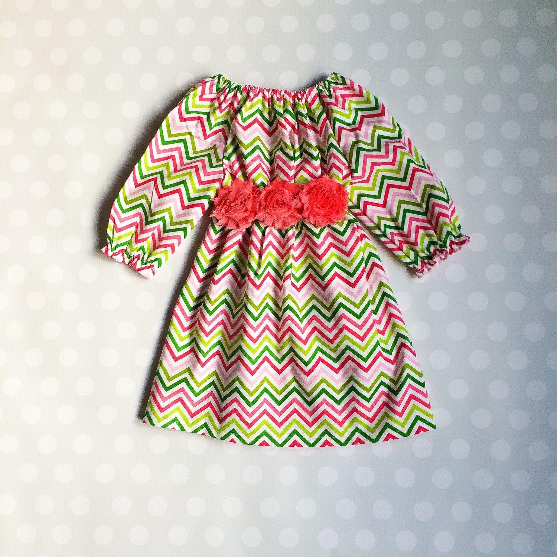 Size 24 months Ready to Ship Girls Chevron Long Sleeve Dress
