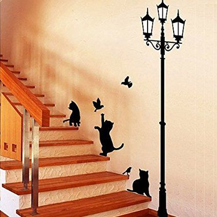 Fuloon Schwarze Katzen und Straße Licht Wandtattoo Wandaufkleber - wandtattoo fürs schlafzimmer