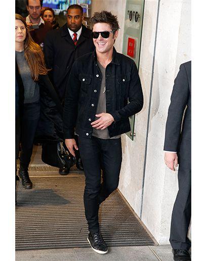 Zac Efron wearing Black Denim Jacket, Grey Print Crew-neck T-shirt ...