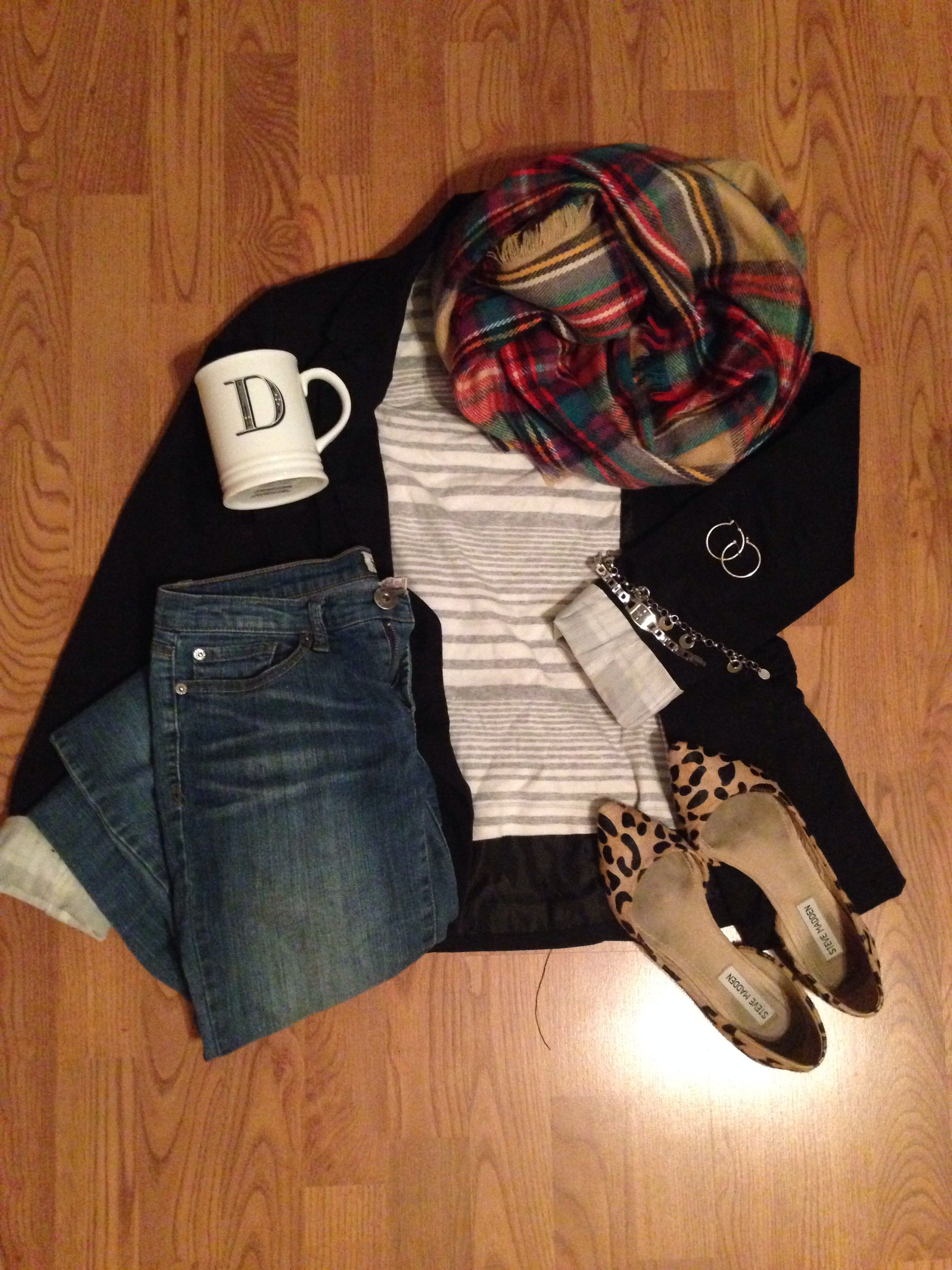 target blanket scarf, papyrus monogrammed mug, target blazer, steve madden flats