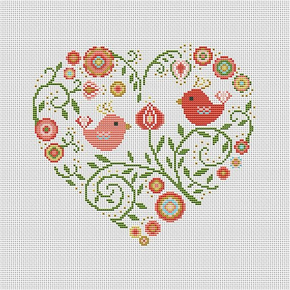 Cross stitch pattern heart needlepoint birds sampler by