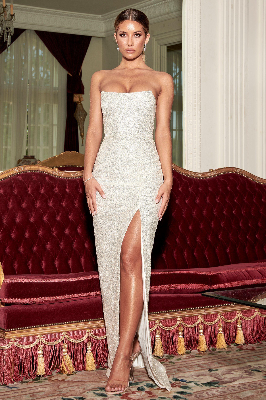 Emilia sequin strappy back gown silver meshki in 2020
