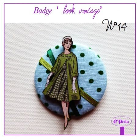 Badge vintage n°14, Bijoux, Broche - PrimaCréa
