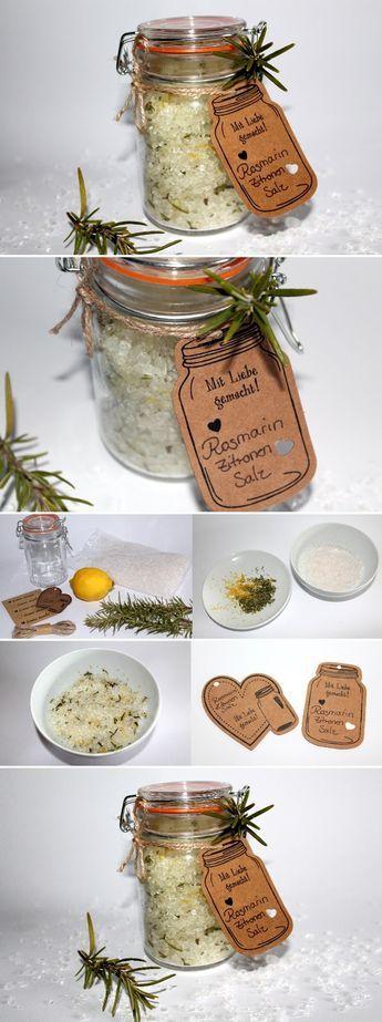 DIY Rosmarin-Zitronen Salz Christmas 2017, Xmas and Gift - geschenke für die küche