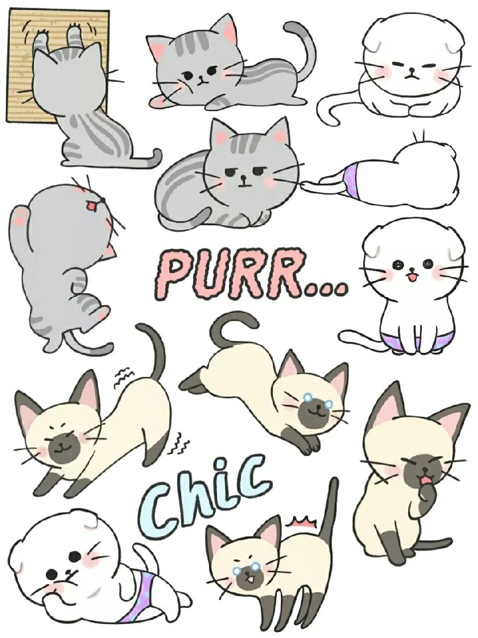graphic relating to Printable Cats called Kitty Cat Stickers Printables #free of charge #stickers #printable
